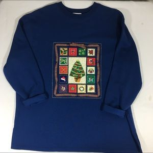 Vtg Ugly Christmas Sweatshirt Appliqués Large Blue